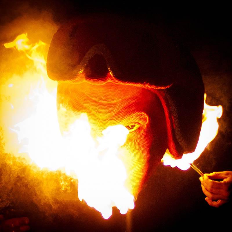devil head sculpture made of matches set ablaze david mach 12 A Devil Sculpture Made from Matches Gets Set Ablaze