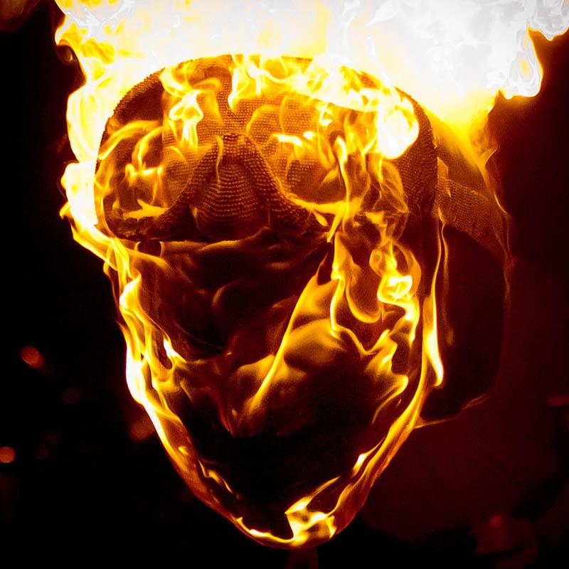 devil head sculpture made of matches set ablaze david mach 13 A Devil Sculpture Made from Matches Gets Set Ablaze