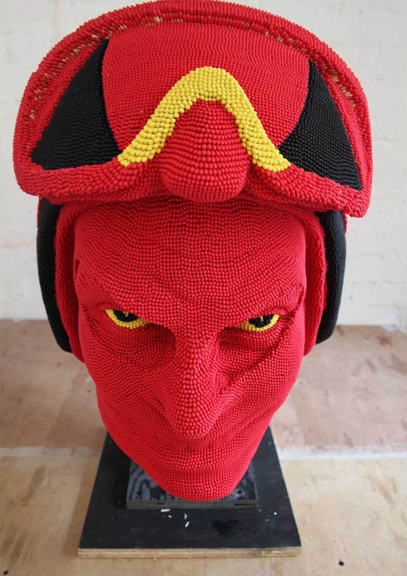devil head sculpture made of matches set ablaze david mach 5 A Devil Sculpture Made from Matches Gets Set Ablaze