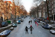 Ice Skating the Famous Canals of Amsterdam