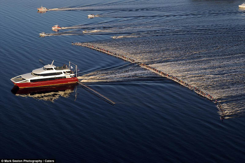 most waterskiers ever pulled behind a single boat Picture of the Day: One Boat and 145 Water Skiers