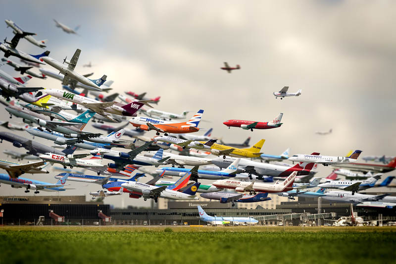 multiple exposure airplane take off hannover airport ho yeol ryu Picture of the Day: Striking Artistry of Multiple Takeoffs at Hannover Airport