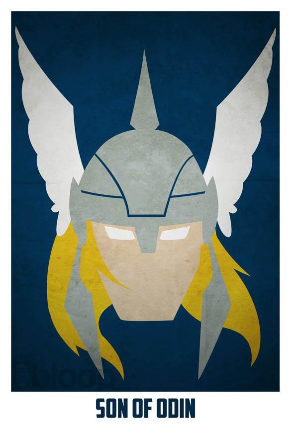 superheroes and villains minimal art posters by bloop 33 Minimalist Superheroes and Villains Posters