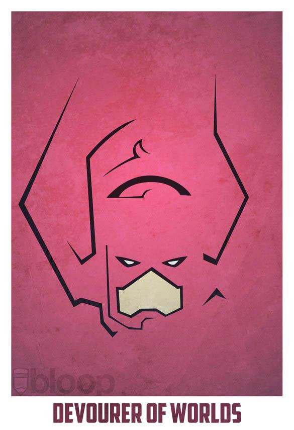 superheroes and villains minimal art posters by bloop 35 Minimalist Superheroes and Villains Posters