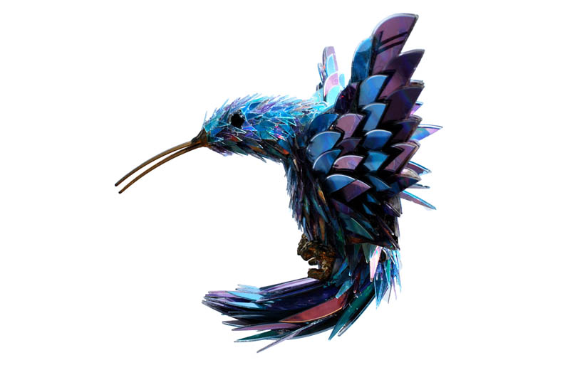 animal sculptures made from shattered cds sean avery 3 Shattered Glass Animal Sculptures by Marta Klonowska