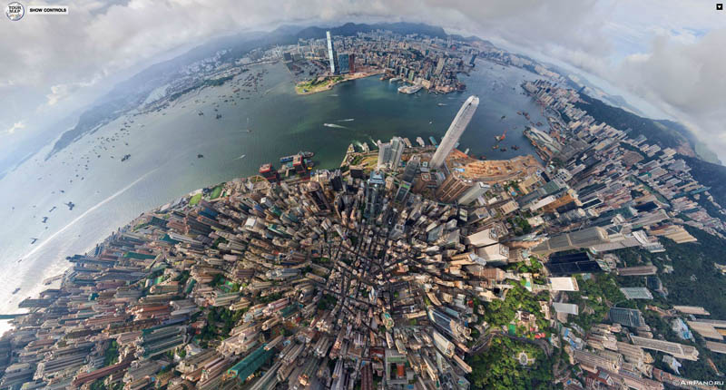 hong kong 360 panorama aerial from above 1 Top Ten 360 Panoramas of Cities Around the World