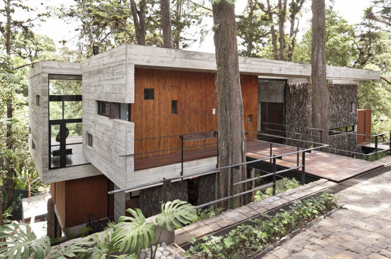 house in forest with trees growing through it 13 An Incredible Home in the Forest With Trees Growing Through It