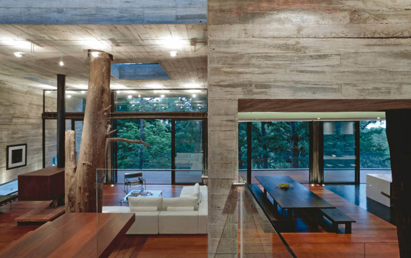 house in forest with trees growing through it 17 An Incredible Home in the Forest With Trees Growing Through It