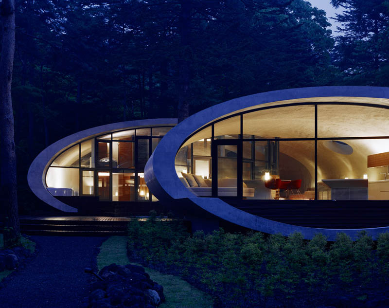 japanese oval sushi roll house villa cottage 15 An Oval Shaped Villa in the Forests of Japan