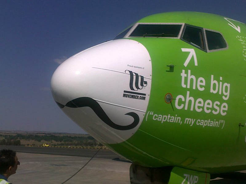 kulula movember nose plane 2 This Airline has the Best Fleet of Planes Ever!