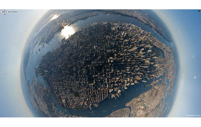 manhattan island new york aerial from above Top Ten 360 Panoramas of Cities Around the World