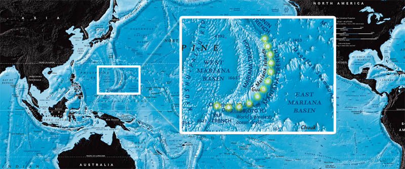 mariana trench map dots Everything You Need to Know About James Cameron and the Deep Sea Challenge