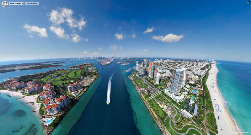 miami florida from above aerial panorama 1 Top Ten 360 Panoramas of Cities Around the World