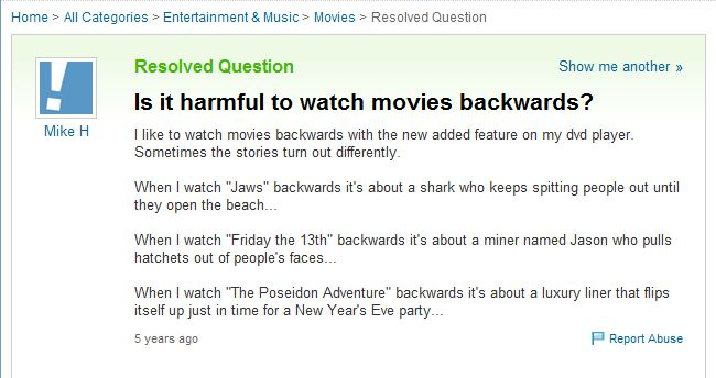 origin of if you watch jaws backwards yahoo answers 10 Movies That Would Be Better If They Were Watched Backwards