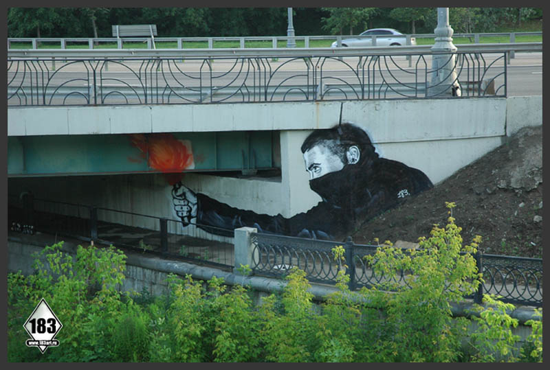 pavel p183 street art russian banksy banksi 8 16 Fresh Pieces by Russian Street Artist P183