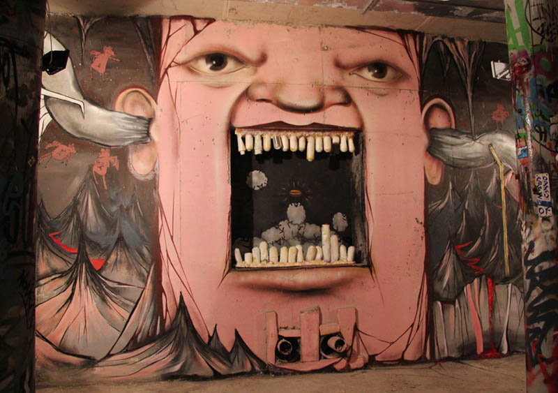 street art nikita nomerz bringing buildings to life 18 Painting Faces to Bring Buildings to Life