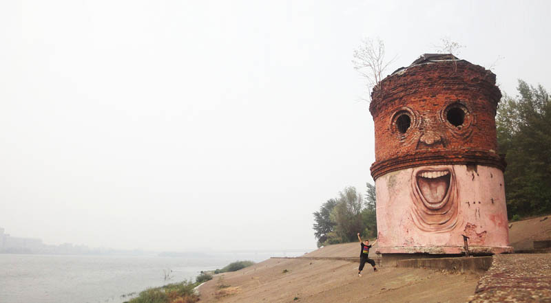 street art nikita nomerz bringing buildings to life 2 Painting Faces to Bring Buildings to Life