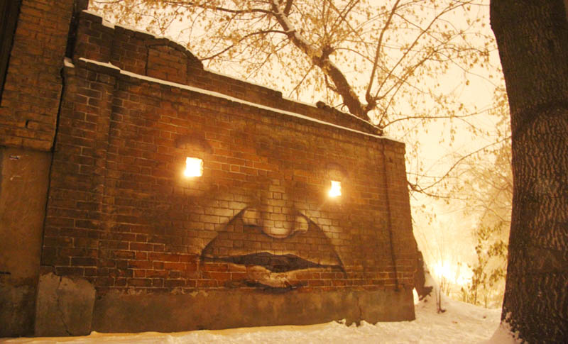 street art nikita nomerz bringing buildings to life 4 Painting Faces to Bring Buildings to Life