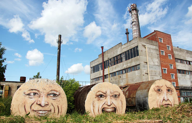street art nikita nomerz bringing buildings to life 7 Painting Faces to Bring Buildings to Life