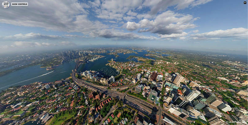 sydney aerial panorama from above 1 Top Ten 360 Panoramas of Cities Around the World