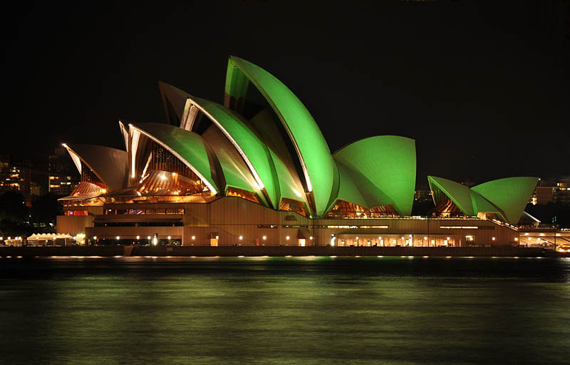 sydney opera house green st patricks 12 Places Around the World That Turn Green for St. Patricks Day