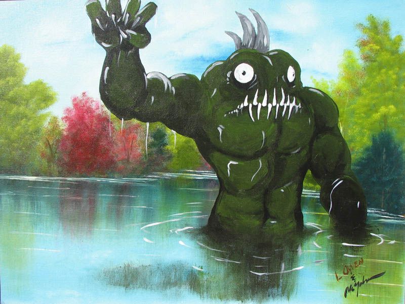 adding monsters to thrift store landscape paintings chris mcmahon 1 Adding Monsters to Thrift Store Paintings