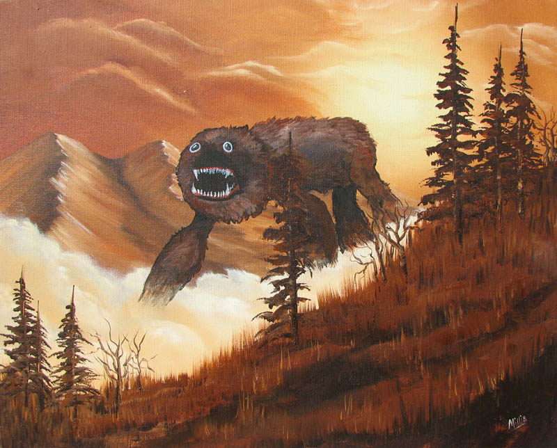 adding monsters to thrift store landscape paintings chris mcmahon 2 Adding Aliens to Thrift Shop Paintings
