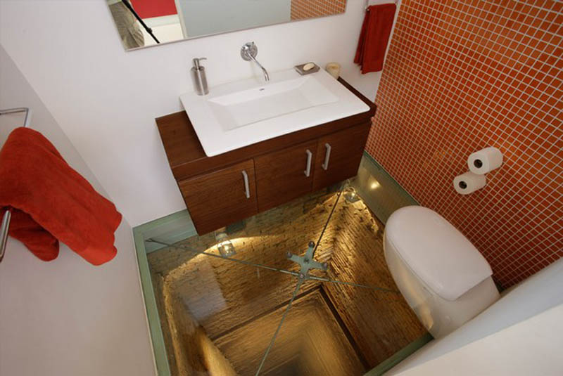 bathroom built over elevator shaft 4 This Bathroom Will Scare the Crap out of You