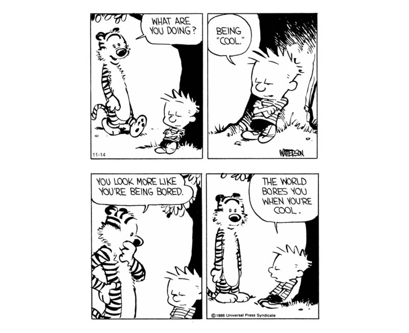 calvin and hobbes world doesnt impress when being cool comic strip Being Cool [Comic Strip]