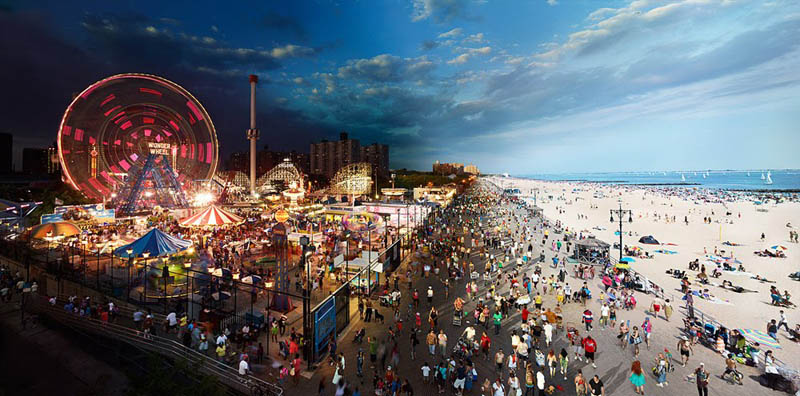 coney island day to night in same photograph stephen wilkes Spooky Split Face Portraits of Family Members