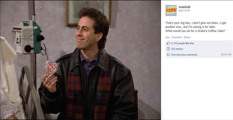 drakes coffee cake seinfeld 50 Glorious Moments on Seinfeld