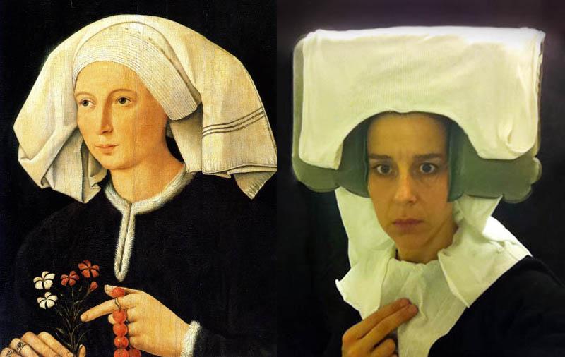 flemish portraiture recreated in airplane bathroom nina katchadourian 1 How Photographers Cure Boredom on Long Flights