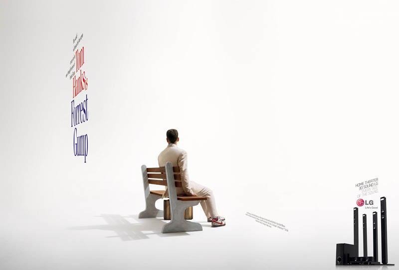 forrest gump movie poster different side angle 3d lg ad Famous Movie Posters in a 3D Environment