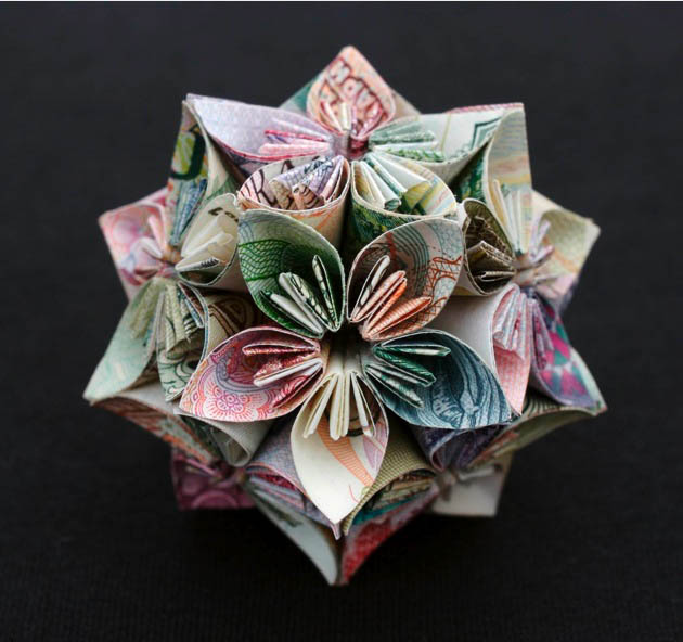 geometric shapes made from currency kristi malakoff 6 Geometric Shapes Made from Currency