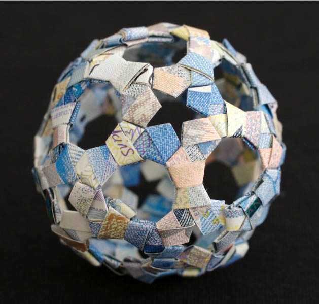 geometric shapes made from currency kristi malakoff 7 Geometric Shapes Made from Currency