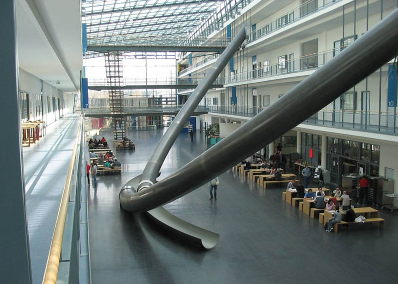 giant 3 storey indoor sllides technical university munich germany Picture of the Day: The Giant Three Storey Indoor Slides in Munich