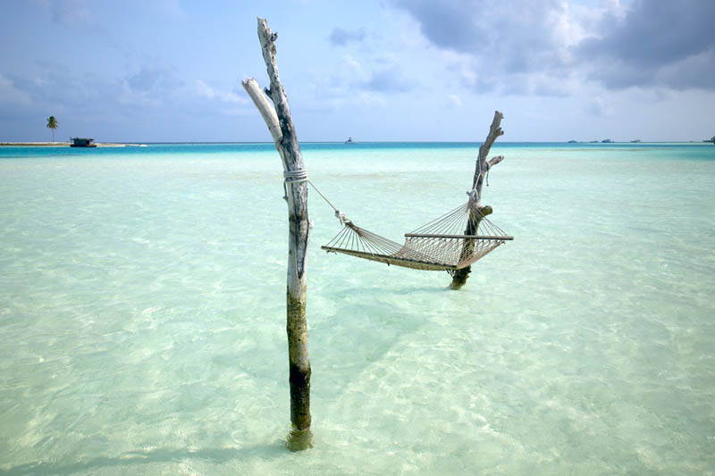 hammock in the water white sand beach maldives Picture of the Day: Great Place for a Hammock