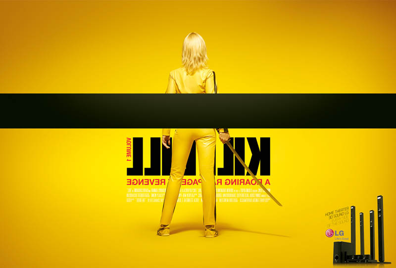 kill bill movie poster different side angle 3d lg ad Famous Movie Posters in a 3D Environment