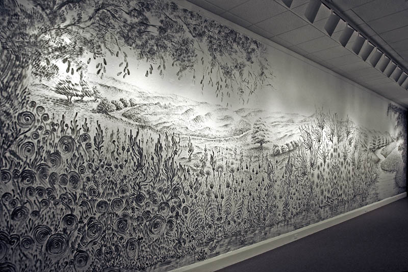 large charcoal mural judith ann braun 1 Massive Mural Drawn Live Using Only Hands and Charcoal
