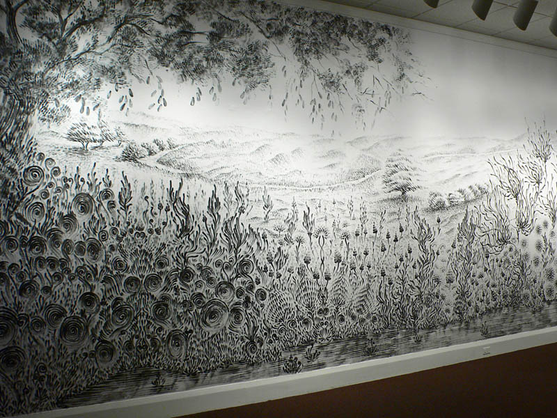 large charcoal mural judith ann braun 2 Massive Mural Drawn Live Using Only Hands and Charcoal