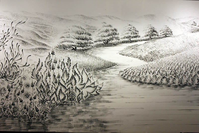 large charcoal mural judith ann braun 6 Massive Mural Drawn Live Using Only Hands and Charcoal