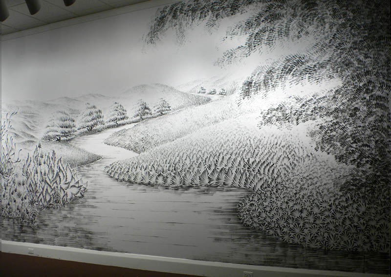 large charcoal mural judith ann braun 7 Massive Mural Drawn Live Using Only Hands and Charcoal