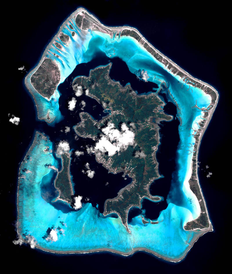 satellite aerial bora bora from space pleiades france Picture of the Day: Bora Bora from Space