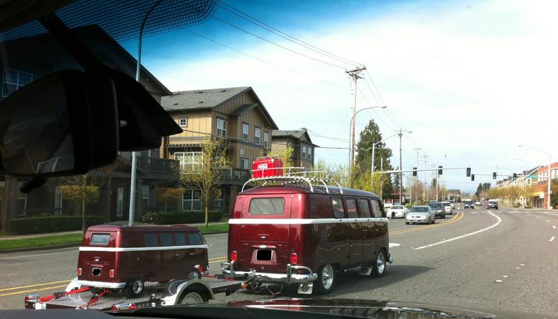vw camper van towing miniature go kart vw camper van red oregon 16 Bizarre Trailers That Look Like Miniature Cars