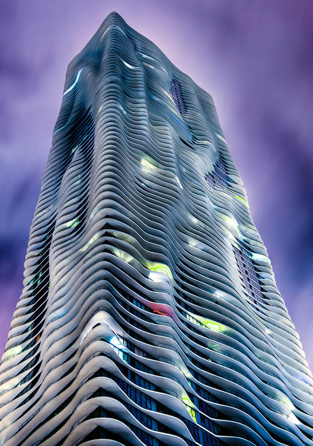aqua building by night Incredible Architecture Photography by Dave Wilson