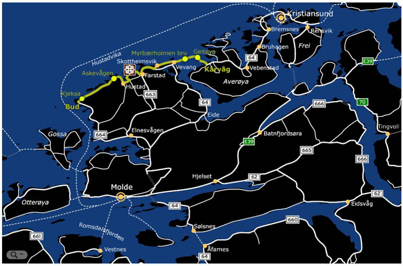atlantic road route on a map norway The Atlantic Road: Norways Construction of the Century
