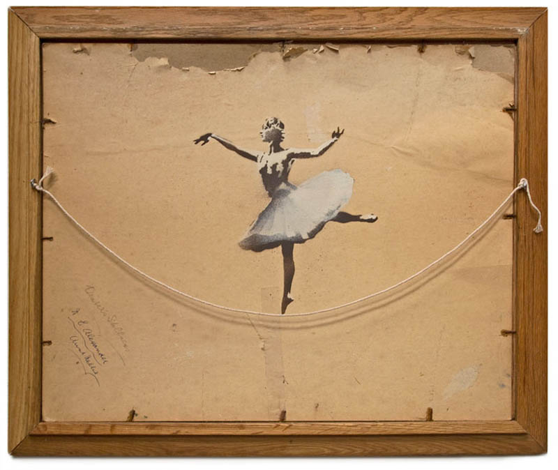 banksy ballerina on back of painting hanging string 10 Latest Artworks from Banksy