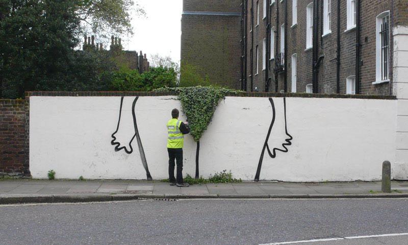 banksy bush trim street art 3 10 Latest Artworks from Banksy