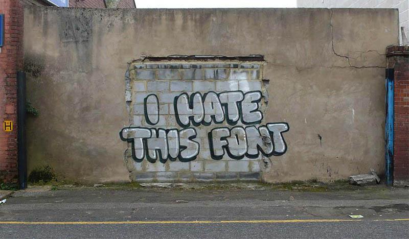 banksy i hate this font street art graffiti 10 Latest Artworks from Banksy