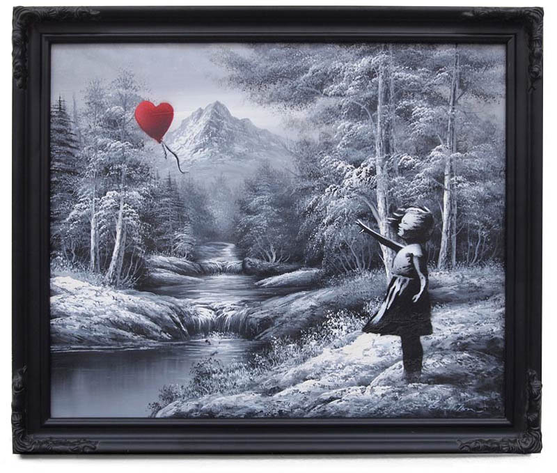 banksy new girl red balloon landscape painting 10 Latest Artworks from Banksy